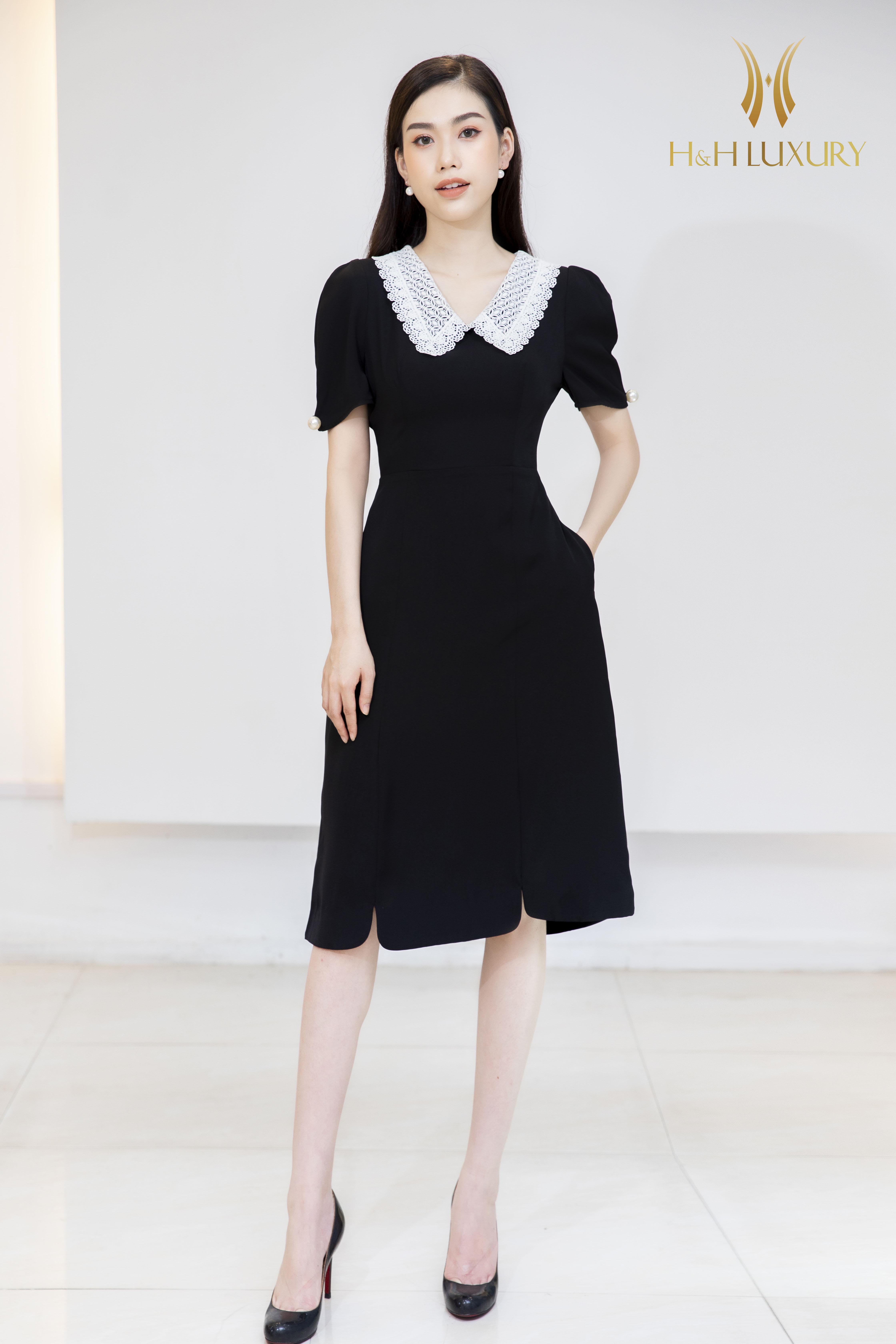Đầm đen dáng A phối cổ viền trắng