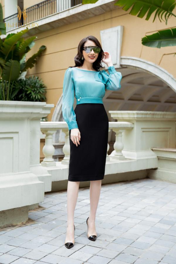 Đầm bút chì đen phối tơ xanh