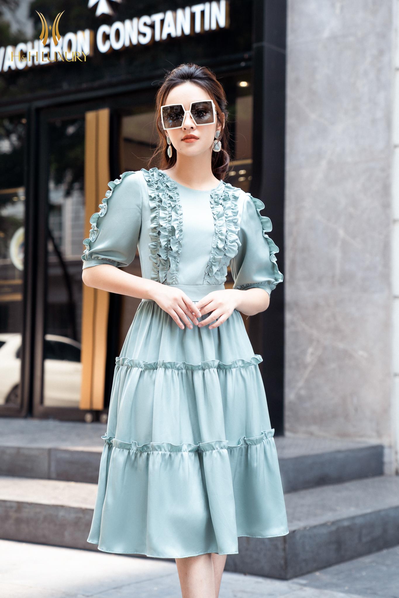 Đầm xòe xanh nhún 3 tầng