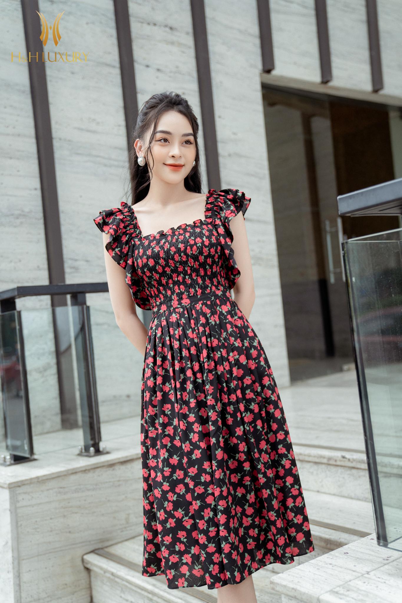 Đầm xòe hoa hồng nhí bèo vai